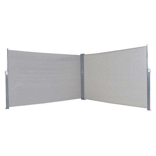 MCTECH® Doppel-Seitenmarkise Zertifiziert Sonnenschutz Sichtschutz Windschutz Terrasse Markise Polyester (1.8 * 6m, Grau)