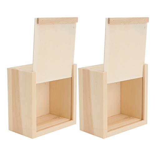 VILLCASE 2 Piezas de Caja de Madera Inacabada del Cofre del Tesoro para Artesanías Hobbies Joyero Caja de Jabón para El Hogar