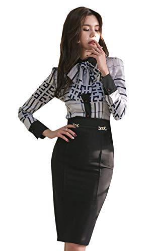 [ココアンドユカ] セットアップ フォーマル スーツ りぼん チェック シャツ 長袖 + タイト スカート ミニ 膝丈 スリット 柄 きれいめ ブラウス トップス キャバ 嬢 キャバクラ ドレス 上下 セット レディース (ホワイト, XL)