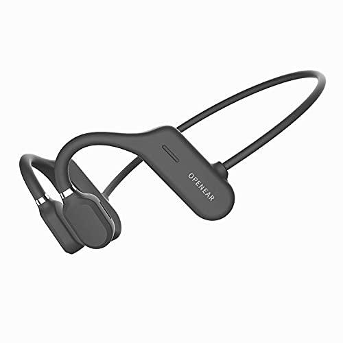 Conducción Ósea De Titanio Bluetooth 5.0, Auriculares Inalámbricos De Oreja Abierta, Auriculares Deportivos Impermeables IPX6 Con Micrófono Para Correr La Conducción De Ciclismo (Solo 18 G),Negro