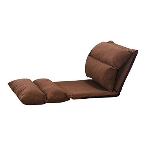 Silla de Piso Plegable de cáñamo de algodón con Respaldo Ajustable Lazy Lounge Sofa Gaming Meditación Lectura (Crema, café) (Color: Crema)
