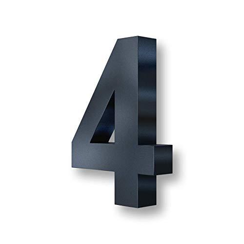 Metzler 3D Hausnummer in Anthrazit aus Stahl - Hausnummer mit Pulverbeschichtung in Feinstruktur 7016 Anthrazitgrau matt - Höhe 20cm / Tiefe 3,5 cm - inkl. Montagematerial - Ziffer 4