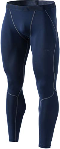 TSLA Men's UPF 50+ Compression Pants, UV/SPF Running Tights, Workout Leggings, Cool Dry Yoga Gym Clothes, Zero(p16) - Red, Medium