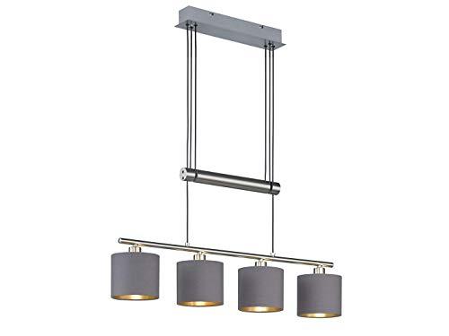 Höhenverstellbare 4 flammige LED Balken Pendelleuchte mit Stoffschirmen in Braungrau/Gold - Hängeleuchte für eine Moderne Deckenbeleuchtung