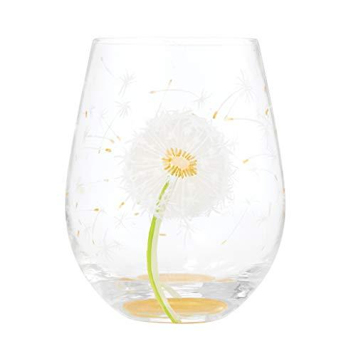 Enesco Designs by Lolita Dandelion Wish Artisan - Copa de vino sin tallo pintada a mano, 597 ml, multicolor