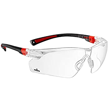 NoCry Safety Glasses with Clear Anti Fog Scratch Resistant Wrap-Around Lenses and Non-Slip Grips UV Protection Adjustable Black & Red Frames