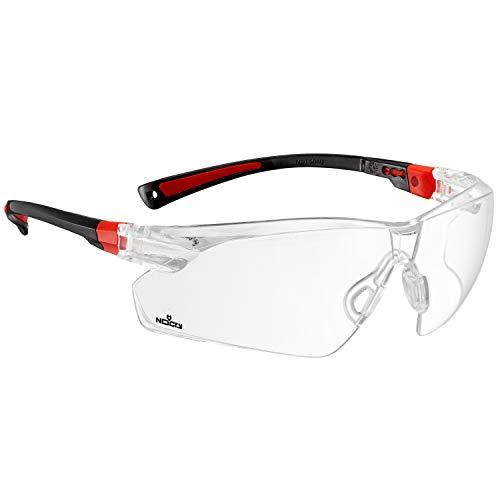 NoCry Schutzbrille mit durchsichtigen Anti-Beschlag und kratzbeständigen Gläsern, Seitenschutz und rutschfesten Bügeln, UV-Schutz, EN166/EN170 zertifiziert. Verstellbar (Schwarz & Rot)