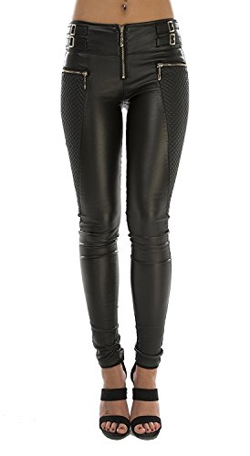 Crazy Lover Damen Kunstlederhose Leder Look Hosen Biker Stretch Skinny Jeans (36, Schwarz)