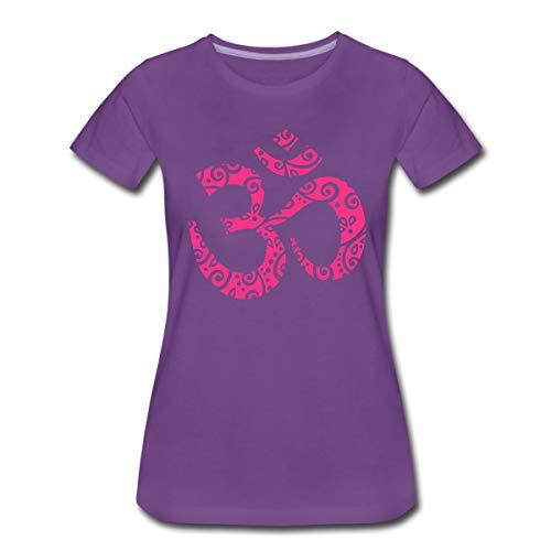 Yoga Om Zeichen Aum Meditation Mehndi Frauen Premium T-Shirt, S, Lila