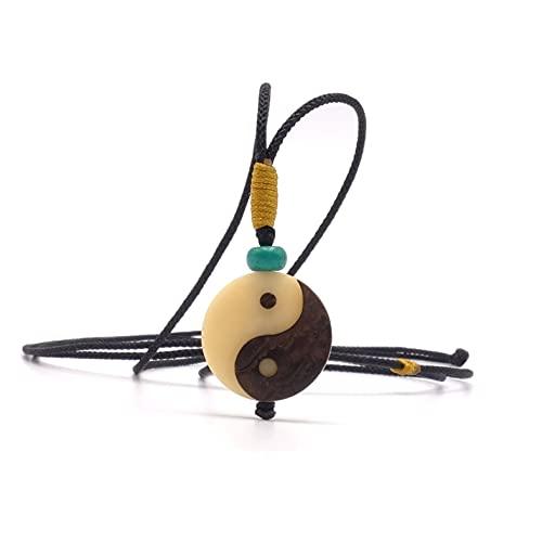 BENAVA Collar Ying Yang de nuez de tagua y yin yoga. Joyas de madera orgánica boho Goa para hombre y mujer. Joyas esotéricas PSY naturales de madera, color beige
