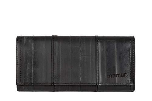 Schwarze handgefertigte Damenbrieftasche aus recyceltem Fahrradschlauch, passend für Banknoten, Telefon und Dokumente. Groß und geräumig.