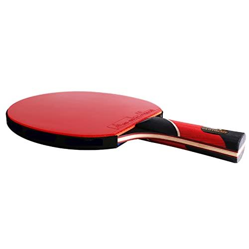 LINGOSHUN Raquetas de Tenis de Mesa Profesional,Aprobado por la ITTF,Paleta de Ping Pong de Carbono,Mango Acampanado,Intermedio / 1 Pack/Long handle