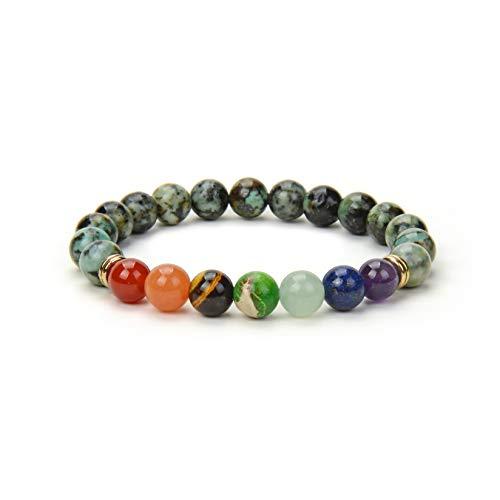 Fukugems Natural Gemstone 7 Chakra Healing Bracelet for Women Men, African Turquoise Bracelet