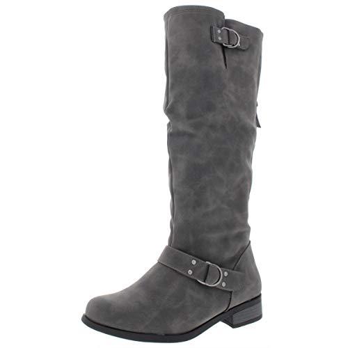 XOXO Frauen Minkler Geschlossener Zeh Leder Fashion Stiefel Grau Groesse 5.5 US /36 EU