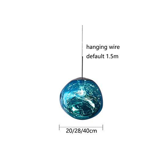 Moderne LED decoratieve hanglamp glazen bol Purple Lava 28/38 cm keuken lamp blauw_Los 38cm