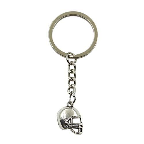 ZPZZPY Männer Schlüsselring Metall Schlüsselanhänger Schlüsselanhänger Geschenk Anhänger Silber Farbe Soccor Cap Football Helm Anhänger