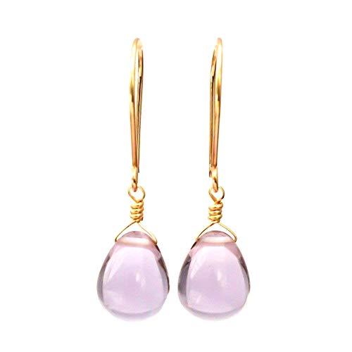 Pale purple glass dangle earrings 14kt rose gold-filled