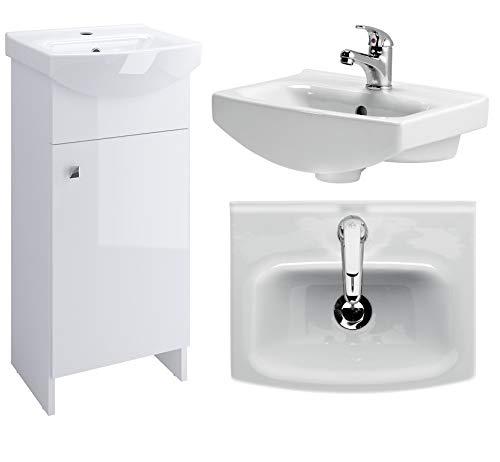 VBChome Badmöbel Weiß 40 cm Waschbecken mit Unterschrank Waschtisch Waschbeckenunterschrank Unterschrank Badezimmerschrank Glanz Waschplatz Stand Standmöbel