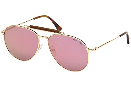Tom Ford Sean FT0536 28Z Unisex Rose Gold & Pink Mirror Lens Aviator Sunglasses