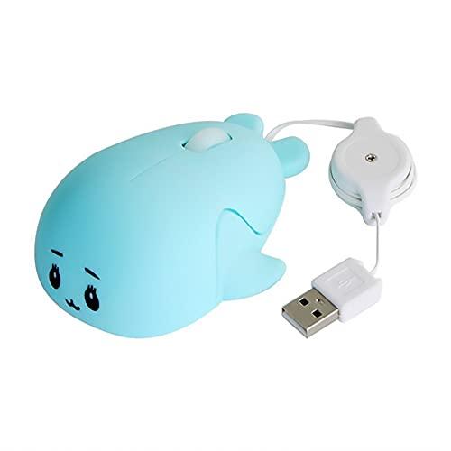 MUDEREK Ratón, Mini Cable del ratón del Ordenador portátil Retractable óptico Atado con Alambre USB de la Forma silenciosa Dolphin for Office/Home/Dorm Room/Escuela (Color : Blue)