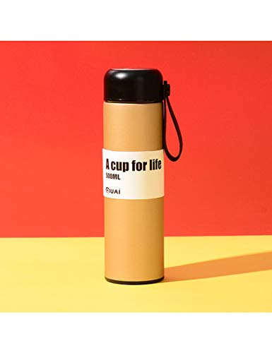 LLMTF 500Ml Double Wall Stainless Steel Coffee Thermos Cup Portable Rope Vacuum Flask Outdoor Insulated Travel Mug,Trinkflasche,Gold,500Ml