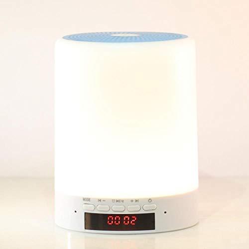 Luz de noche Modo privado Audio Lámpara de escritorio Altavoz Bluetooth Luz de noche Empresa Regalo de empresa, Hora + Alarma Azul