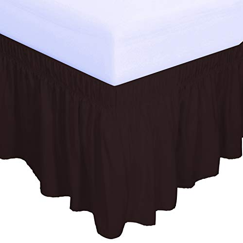 PureFit Wrap Around Ruffled Bed Skirt with Adjustable Elastic Belt - 14 Inch Drop Easy to Put On, Wrinkle Free Bedskirt Dust Ruffles, Bed Frame Cover for Queen, King and C-King Size Beds, Chocolate
