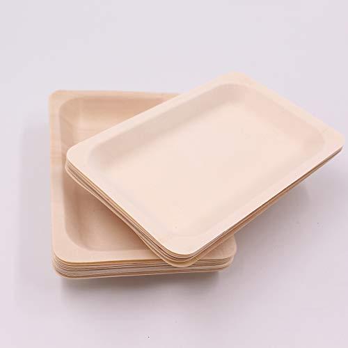 Natürliche und umweltfreundliche Einweg-Holzteller für Zuhause und Küche, 12,7 cm / 15,2 cm 5 * 5 inch(50 pcs/bag) gelblich