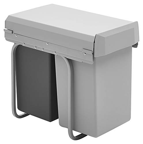 Wesco New Double-Boy - Cubo de basura integrado (2 compartimentos de 15 L), material plástico, Plata/antracita