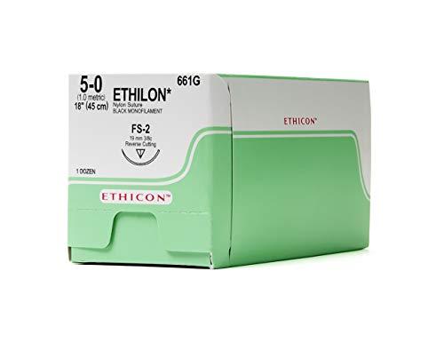 Ethicon ETHILON Nylon Suture, 661G, Synthetic Non-absorbable, FS-2 (19 mm), 3/8 Circle Needle, Size 5-0, 18' (45 cm),Black