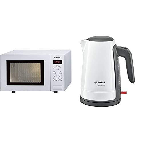 Bosch HMT75M421 Serie 2 Freistehende Mikrowelle / 800 W / 17L / Drehteller 24,5cm / Türanschlag Links/Weiß & TWK6A011 ComfortLine kabelloser Wasserkocher, 1-Tassen, große Öffnung, 1,7L, 2400W, weiß