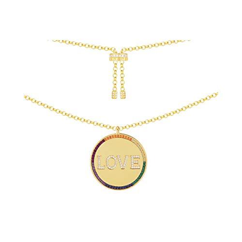 Fdnmld Collar Letra arcoíris en Oro, Collar de Mujer Chapado en Oro de 14 Quilates Colgante Letra Redondo Personalizado - Colgante Letra de Plata de Ley 925LOVE