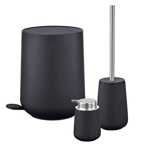 Zone Denmark Nova Bad Accessoires Set Pedaleimer mit Soft Close Seifenspender Toilettenbürste Soft Touch Black schwarz