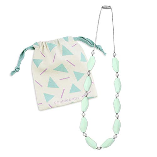 Goobie Baby Naomi Silicone Teething Necklace for Mom to Wear, Nursing Necklace Chew Bead (Teething Necklace – Mint/Marble)