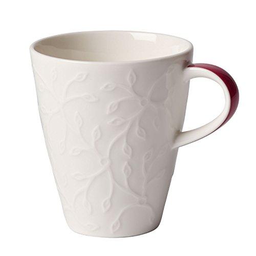 Villeroy & Boch Caffè Club Floral Touch of Rose Kaffeebecher, 200 ml, Premium Porzellan, Weiß/Pink