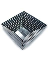 """Set of 11 Tier Square Multilayer Birthday Wedding Anniversary Cake Tins/Pans / Mold (Mould) by Hufsy 4""""-14"""" 3"""" Deep"""