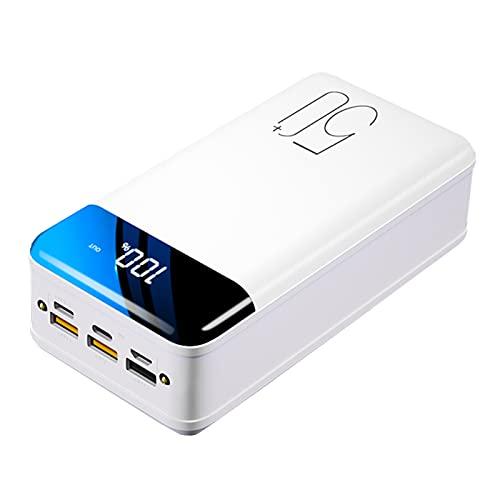 PWQ-01 Power Bank 50000mah, Cargador portátil de Alta Capacidad PD 18W USB C Carga rápida, Batería Externa Powerbank de 6 Puertos con Pantalla LED Compatible con iPhone Samsung IP-ad y más,Blanco