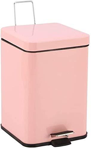 ZCM Cubo De Basura Cuadrado Cubo De Basura, Interior Oficina Cubo De Basura De Acero Inoxidable Cubo De Basura De Baño Cocina Fácil De Limpiar(Size:6L,Color:Rosado)