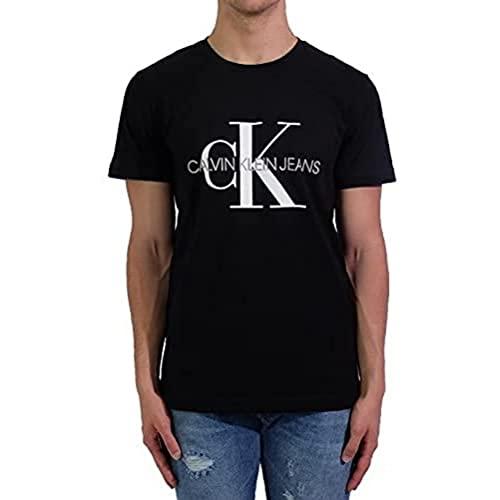 Calvin Klein Iconic Monogram SS Slim Tee Maglietta, Nero (CK Black Bae), Medium Uomo