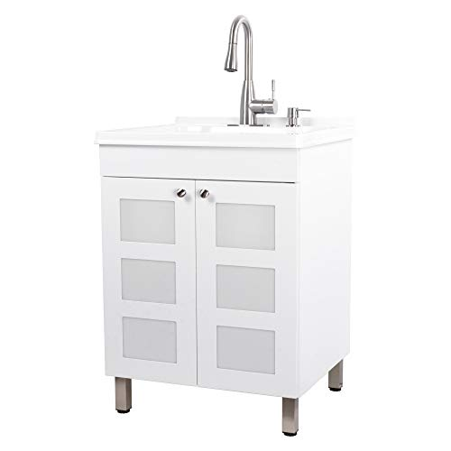 Utility Sink Laundry Tub With Cabinet In White, High Arc Stainless Steel Faucet, Storage Vanity With Slow Closing Doors, Large Washtub for Cleaning and Washing, Sinks for Garage, Basement, Work Room
