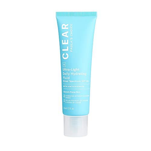 Paulas Choice CLEAR Ultra-Light Hydrating Oil Free Moisturizer SPF 30, UVA UVB Protection, Pore Minimizer Sunscreen for Face, 2 Ounce