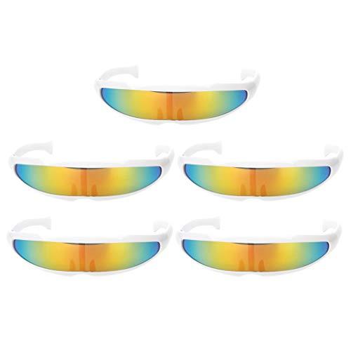 Baoblaze 5er Set Futuristische Brille Sonnenbrille Lustige Partbrille Spaßbrille Cosplay Kostüm Zubehör