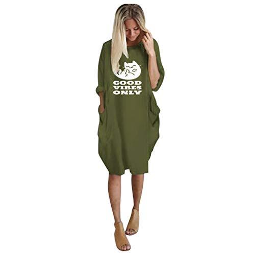 Robe Pullover Femme Grande Taille À Manches Courtes Casual Mini Robe Tunique Longue Col Rond Chemisier avec Poches Chic(E-ArméE Verte,M)