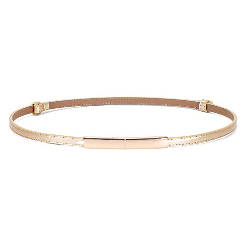 JASGOOD Women's Skinny Leather Belt Shiny Adjustable Slim Waist Belt with Gold Buckle for Dress(Gold,Waist Size 24-40Inch)
