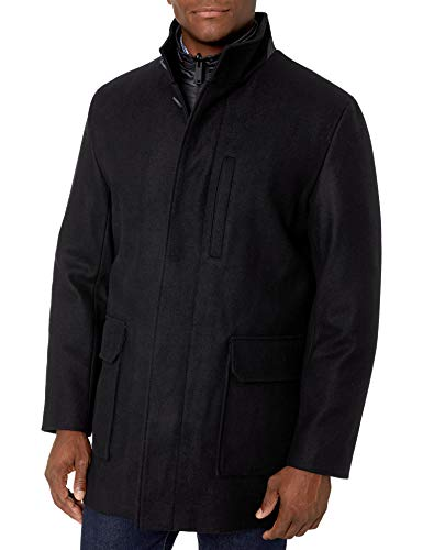 Cole Haan Men's Melton Wool car Coat with Scarf, Charcoal, Large