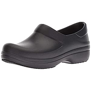 Crocs Women's Neria Pro II Clog   Slip Resistant Work Shoes, Black, 7