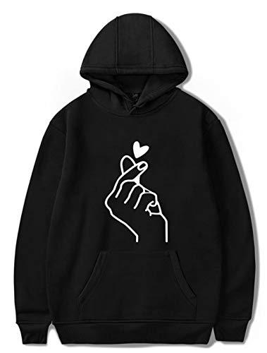 SIMYJOY Unisex Korean Finger Herz Hoodie K-Pop Sweatshirt Casual Style Pullover Langarm Jumper Street Fashion Kapuzenpullover für Männer Frauen Jungen schwarz XL