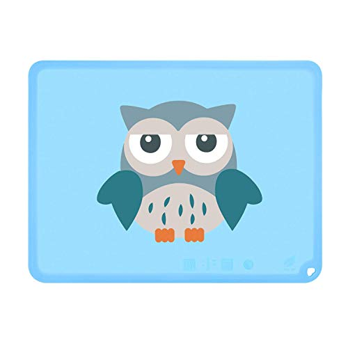 Silicone Cute Kids Placemat, Non-Slip Placemat for Kids Baby Toddlers, BPA Free Children's Dining Food Mat (Owl, Baby Blue)