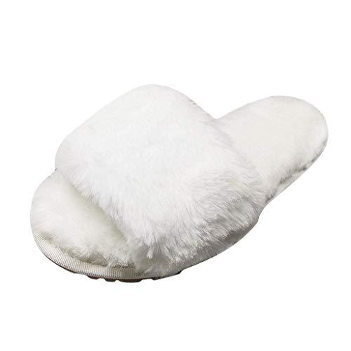 Pantofola di Pelliccia del Faux Flop delle Donne Fuzzy Fluffy Comfy Sliders Aprire la Punta Slip on - Pantofole da Donna Molle Piatte Sandali Soffici con Dolce Peluche Pantofola Outdoor/Indoor