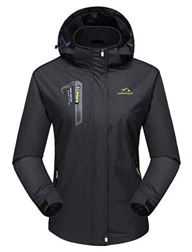 MAGCOMSEN Damen Windjacke Outdoor Regenjacke Trekking Softshelljacke mit Kapuze wasserdichte Wanderjacke Klettern Bergjacke für Sport Schwarz XL